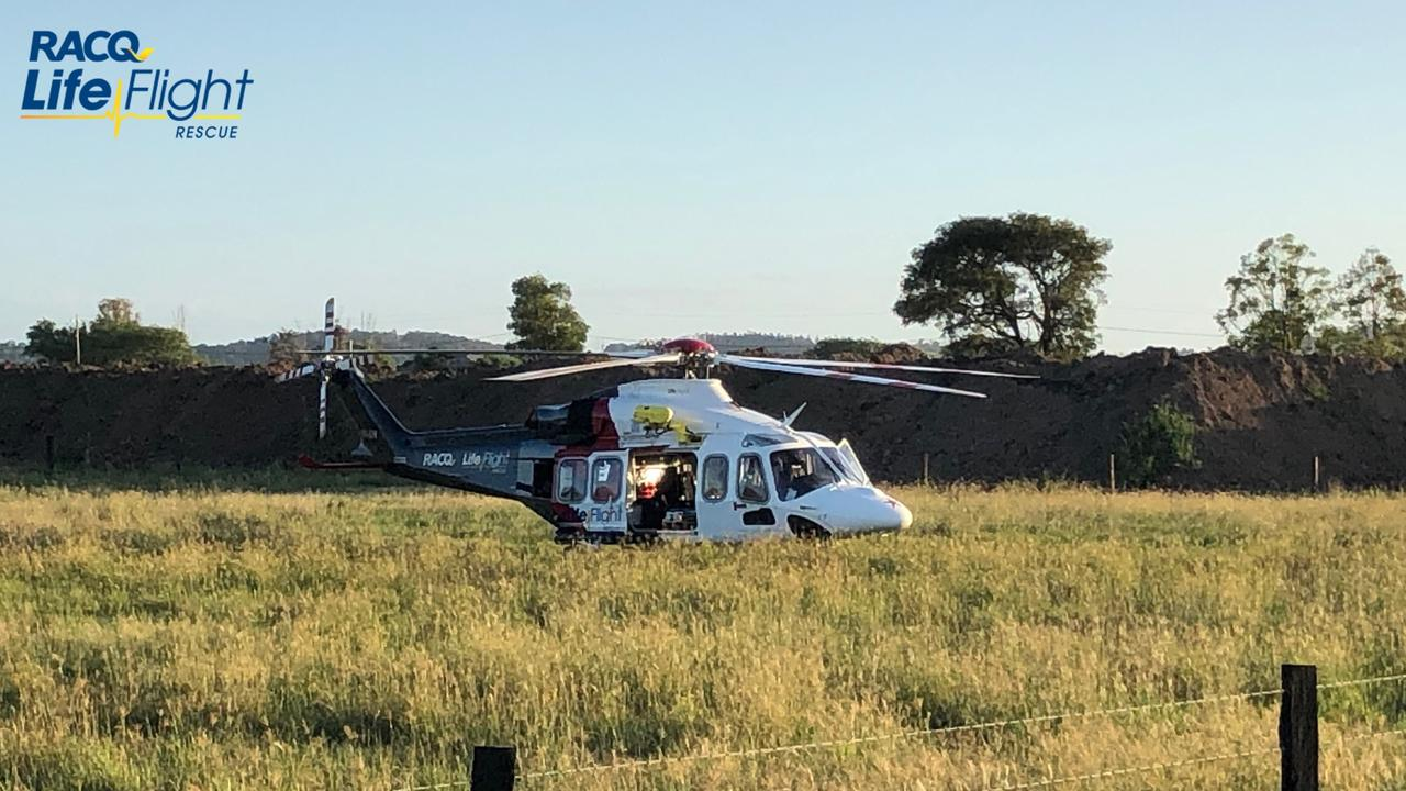 A 25-year-old man was critically injured after his motorcycle collided with a vehicle at Grandchester earlier this month. Picture: RACQ LifeFlight Rescue
