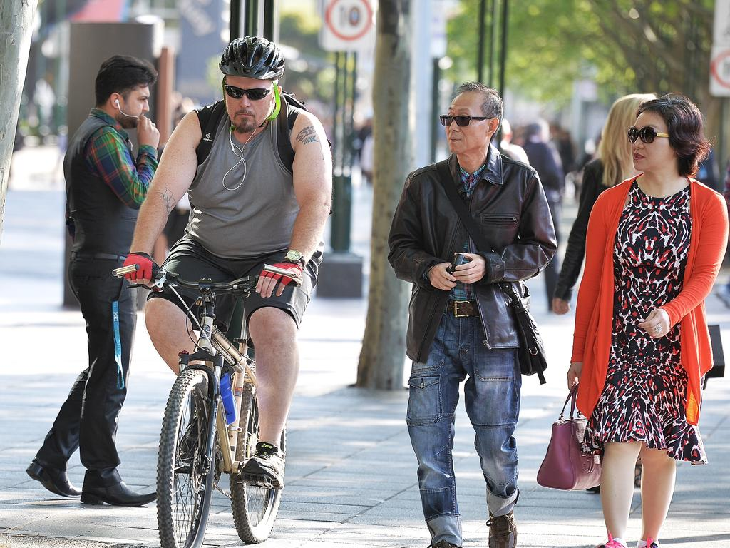 Cyclists and pedestrians at Southbank Picture: Ellen Smith