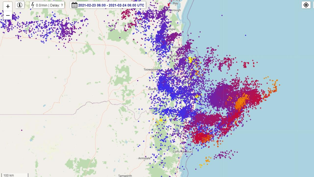 Lightning strikes on the Northn Rivers yesterday.