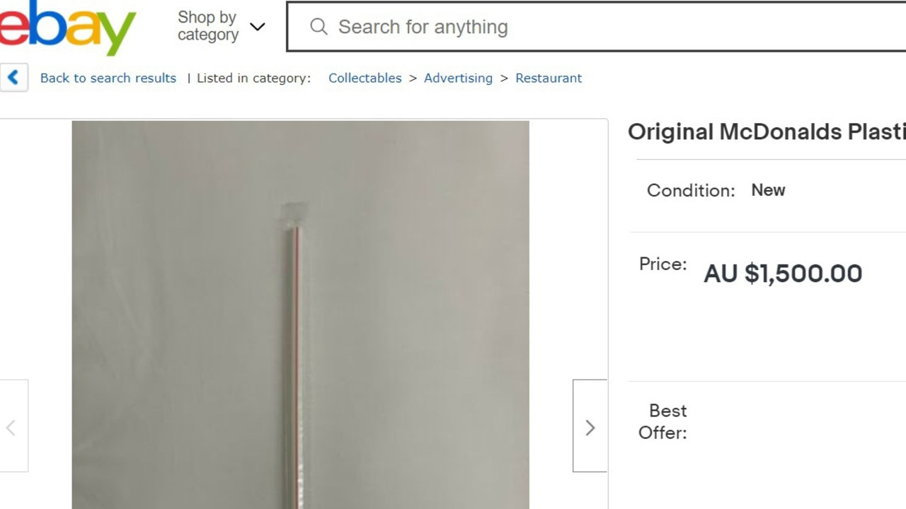 eBay users are trying to flog Macca's straws for up to $1500. Picture: Supplied NCA NewsWire