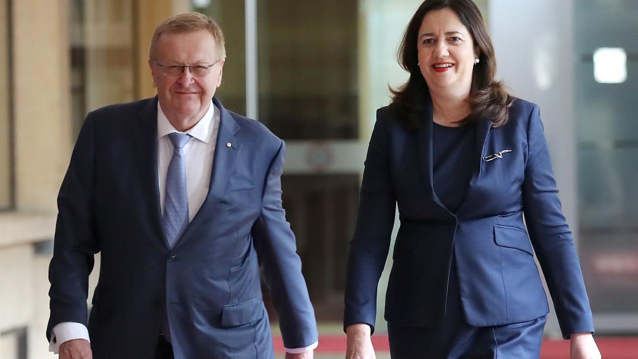 Australian Olympic Committee president John Coates and Premier Annastacia Palaszczuk discuss Queensland's 2032 Olympic Games bid. Picture: Jono Searle