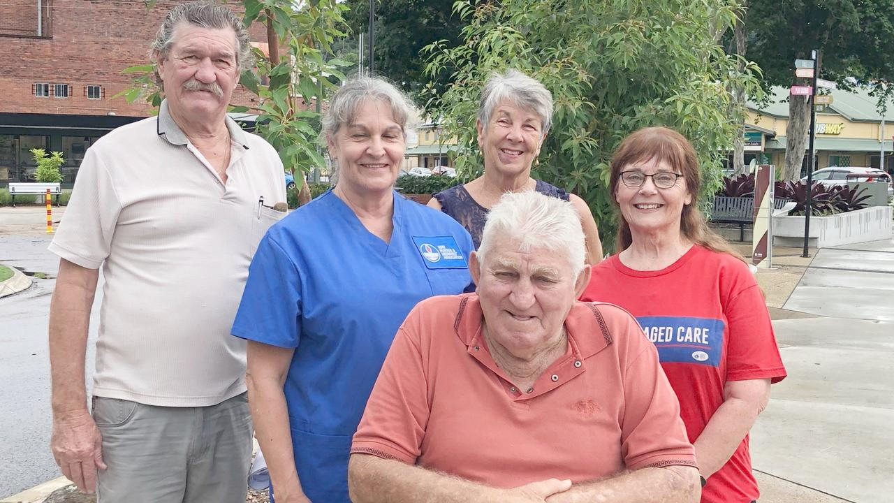 NURSES PROTEST: On Wednesday February 24, 2021 in Murwillumbah aged care supporters highlighted safe staffing needs. L-R Aged care supporter Peter Guinea, aged nurse Clare Carrick (blue), aged care advocate Alma McCallister (back), former aged care nurse Clare Bathgate (in red) with aged care recipient Colin Alexander.