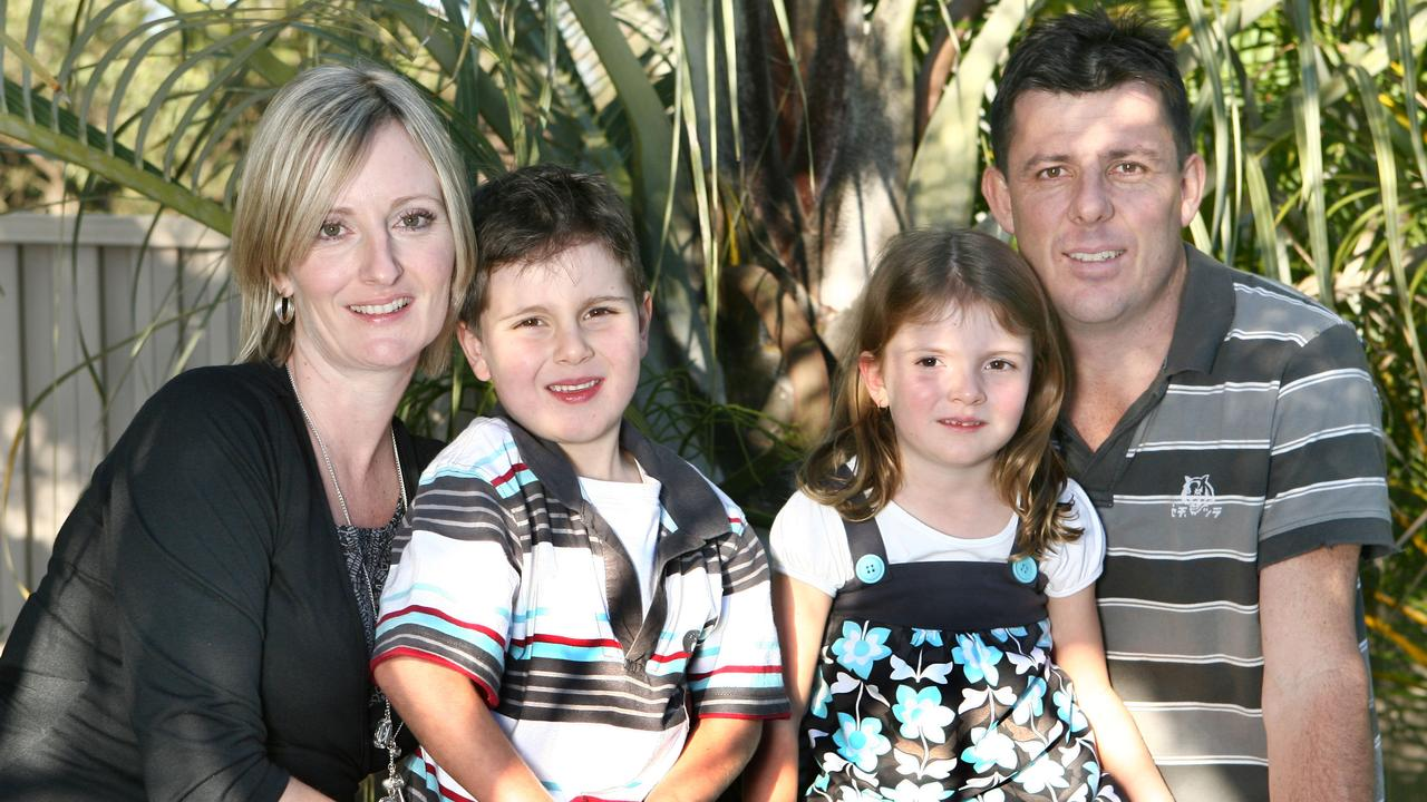 A gorgeous little Alyssa Postle (third from left), pictured with mum Kellie and father Troy in 2008, was inseparable from her big brother Adam (second from left) when they were little, and would even seek each other out in the playground at childcare. Picture: File