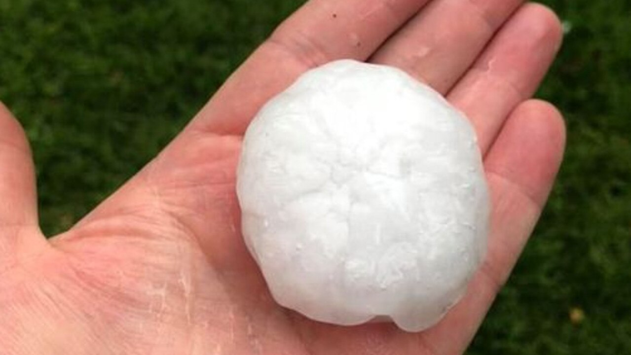 Queen Mary Falls Caravan Park caught pics of the golf ball-sized hail that lashed Killarney on Tuesday.
