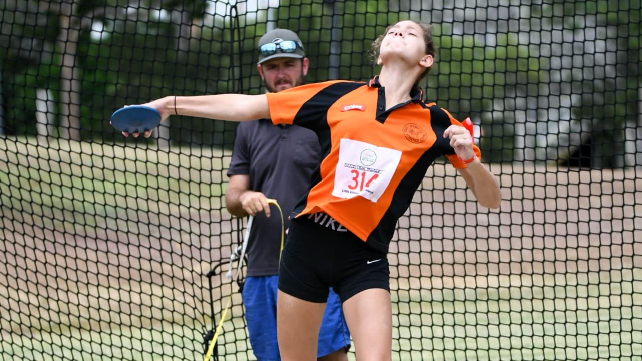 An Ipswich Little Athletics Centre competitor prepares to launch the discus at the recent day one championships at Bill Paterson Oval. Picture: Gary Reid
