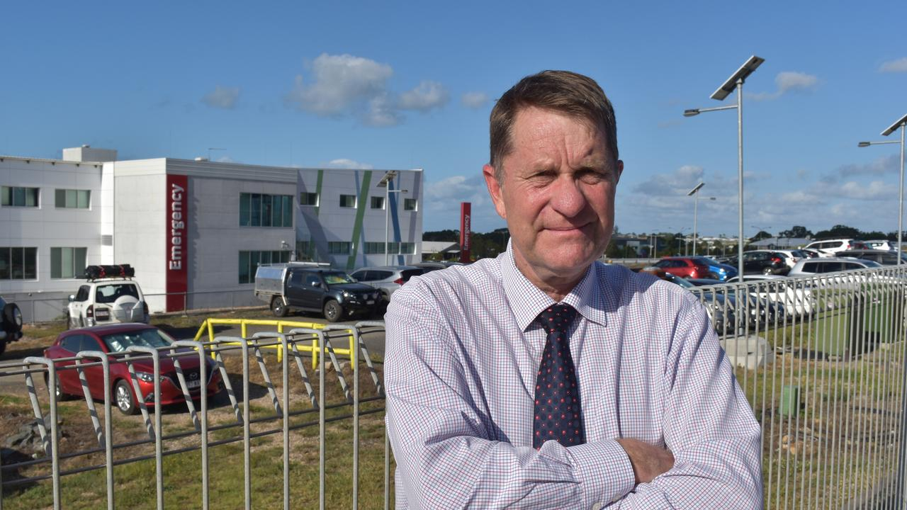 Councillor David Lee with Hervey Bay Hospital in the background. Photo: Stuart Fast