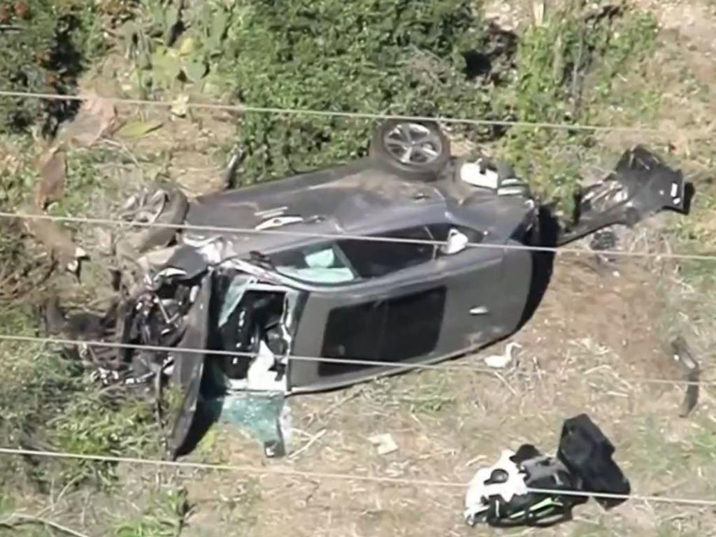 Golf superstar Tiger Woods had to be extricated from his car with the jaws of life and rushed to hospital with major injuries after a horror rollover in Los Angele, Picture: nbcnews