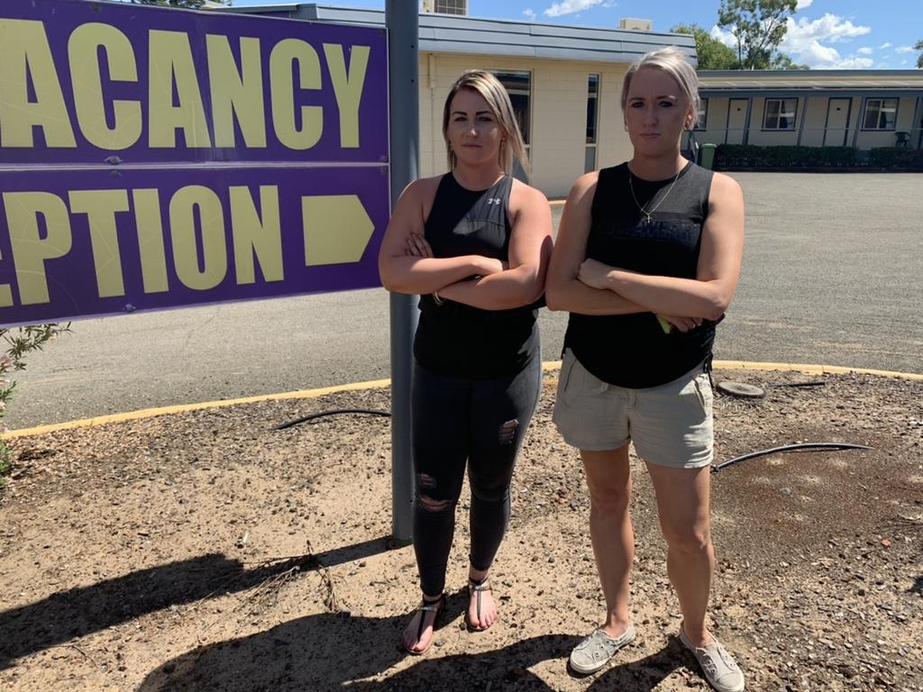 Kylie Taylor (L) and Rhiannon Lawson (R) recently took up the Kings Motel in Roma, but have now had to fork out tens of thousands of dollars due to damage done from alleged criminals.