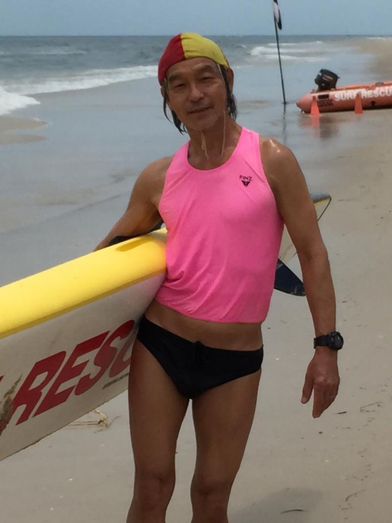 66-year-old Martin Tam volunteers at Bribie Island Surf Lifesaving Club.
