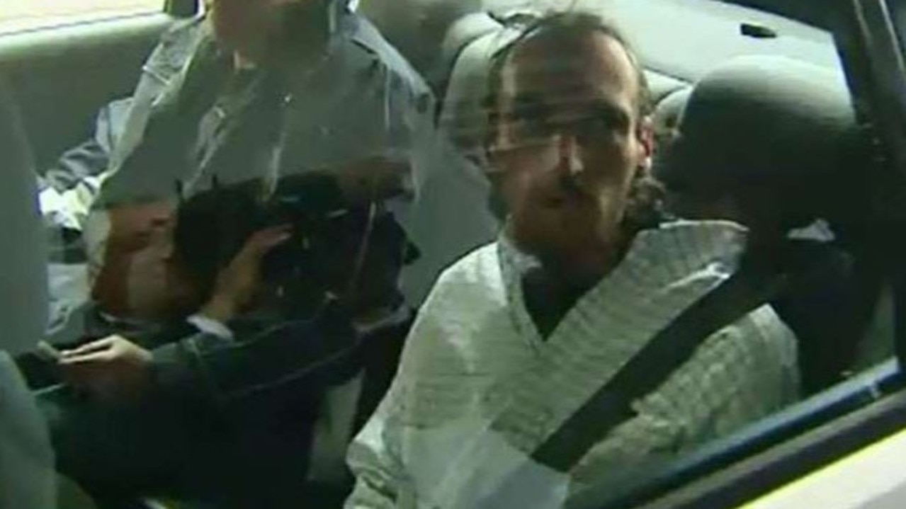 Benjamin Ernest Power being driven off to serve nine years' jail for his role as 'lookout' on the night Damian Leeding was killed. Picture: 9NEWS