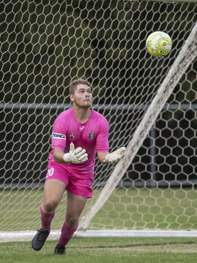 Ipswich Knights goalkeeper Luke Kindness. Picture: Nev Madsen