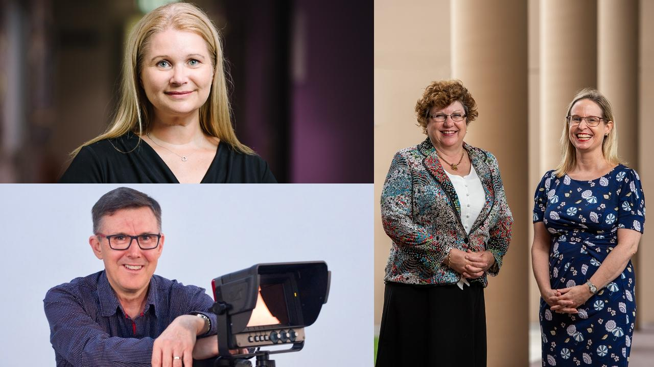 Dr Ashley Jones (bottom right) Melissa Fanshawe (top right) Dr Kerstin Braun (centre) and Associate Professor Noeleen McNamara (right) from USQ all received 2020 Citations for Outstanding Contributions to Student Learning as part of the prestigious Australian Awards for University Teaching program.