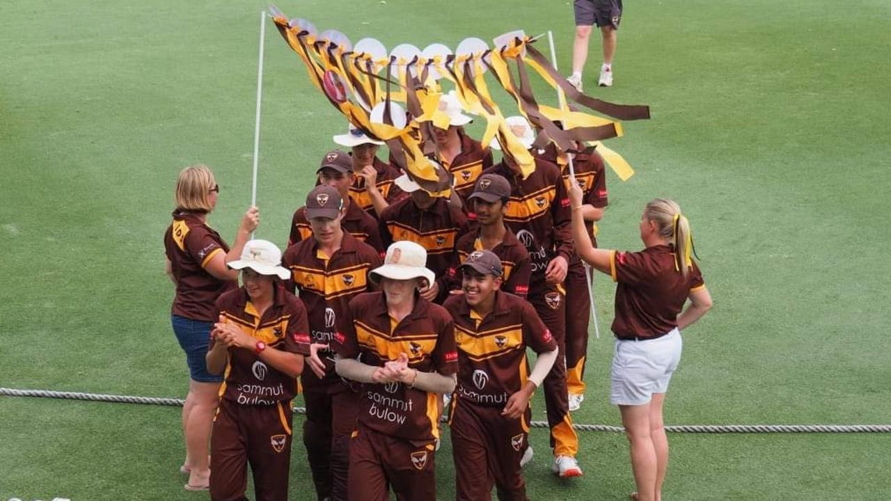 The grand final-winning Ipswich Hornets Taverners junior cricket team.