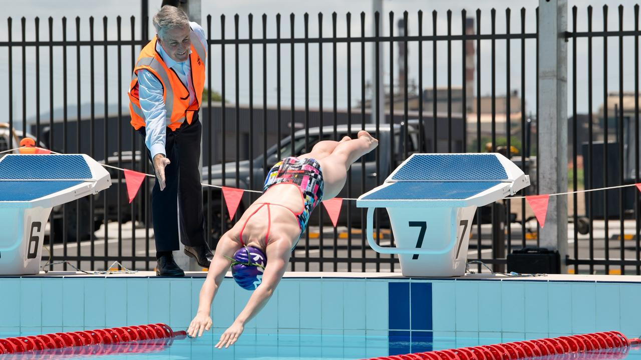 Mayor Greg Williamson gives 14-year-old Bayley Sleeman the all-clear to take the first dive into the 50m pool at the Mackay Aquatic and Recreation Complex.