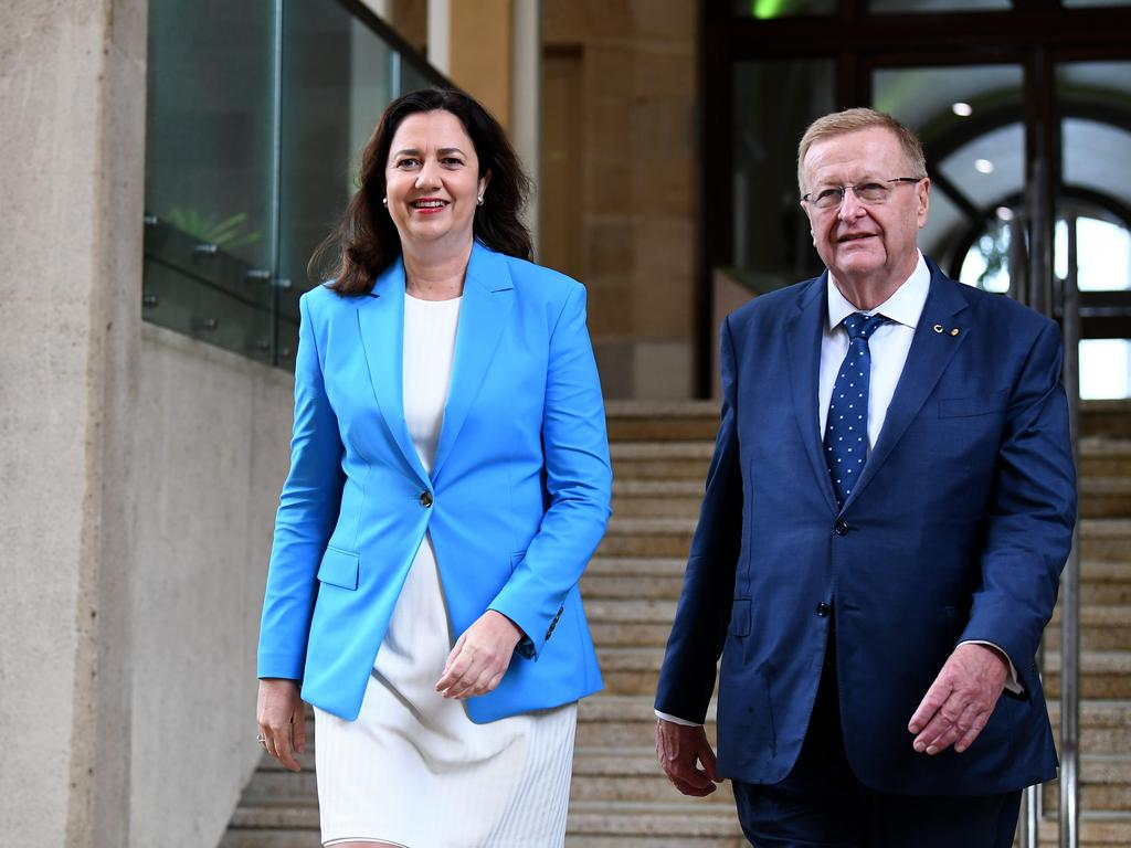 Premier Annastacia Palaszczuk and AOC President John Coates after the International Olympic Committee's (IOC) Future Host Summer Commission designated Brisbane as the
