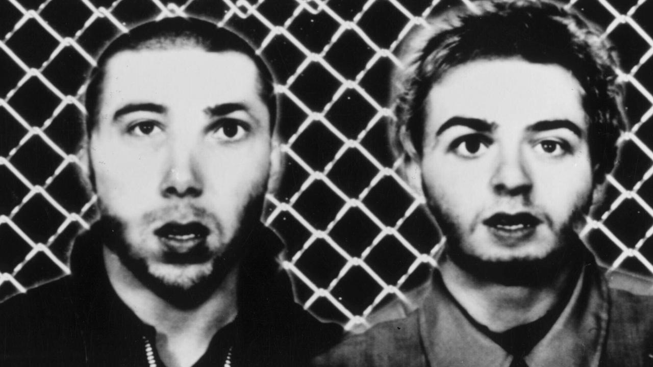 A 1997 publicity photo of Daft Punk – before the masks, but with their faces weirdly distorted.