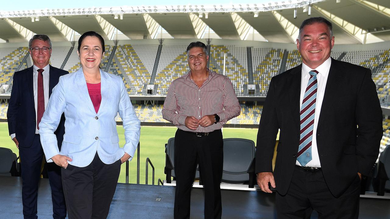 Queensland Premier Annastacia Palaszczuk, pictured with Les Walker, Aaron Harper and Scott Stewart, who suggested Townsville's Queensland Country Bank Stadium would have an active role in supporting the Olympics if the bid was successful. PICTURE: MATT TAYLOR.
