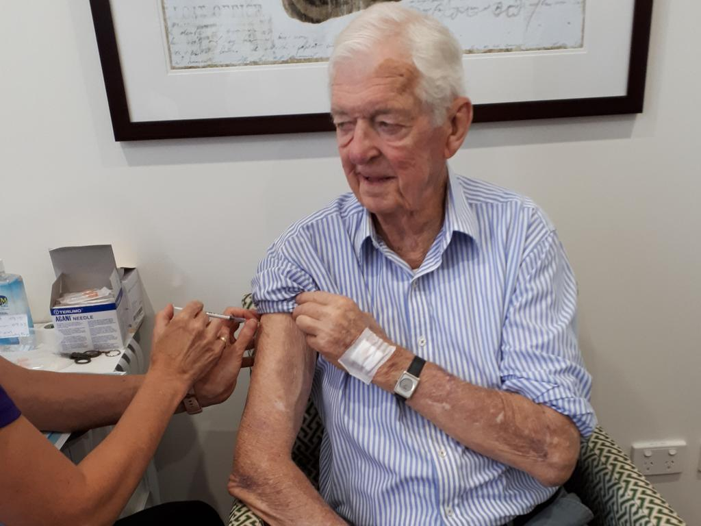 James McWilliam has his COVID-19 vaccination at The Ormsby in Buderim on Friday. Mr McWilliam was second in line for the Pfizer vaccination.