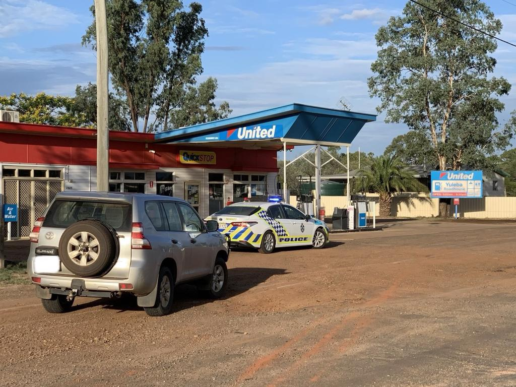 A service station has allegedly been robbed on the Warrego Highway.