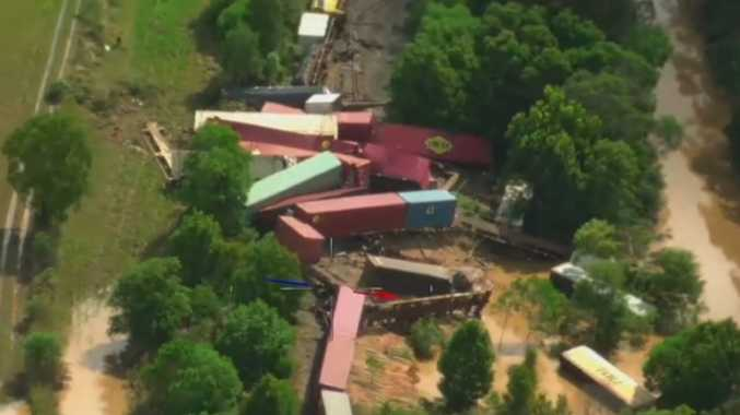 WATCH: Dramatic aerial footage of train derailment