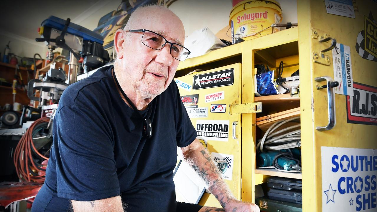 John Steiner pictured in his garage where his 1963 silver Lotus 23B was built and stored before it was stolen. Picture: Patrick Woods.