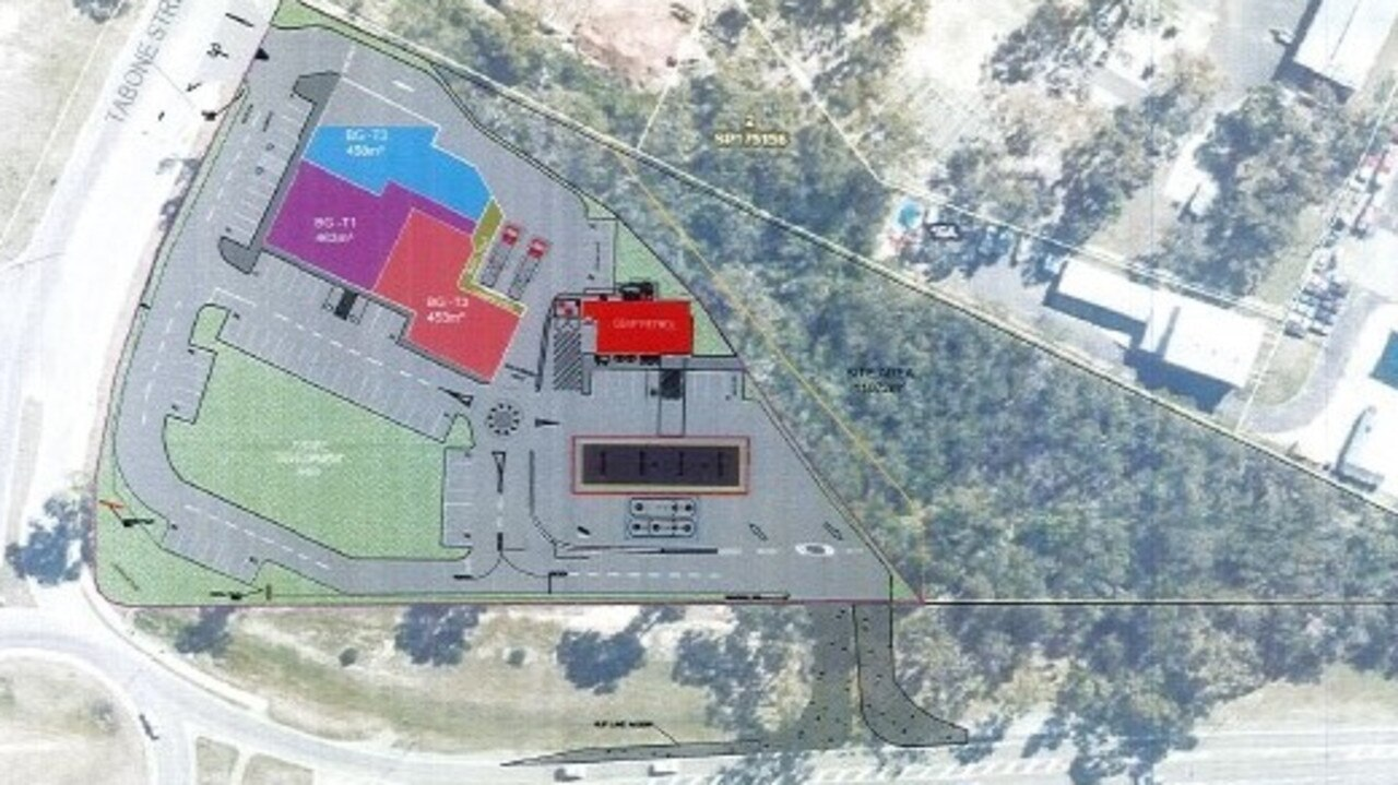 Plans of the proposed median strip for the service station on Rockhampton-Yeppoon Rd.