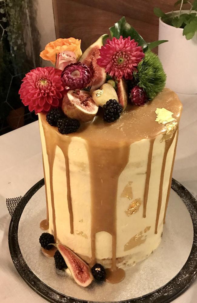 Meg Caughlan and Jason Miller's wedding cake. Picture: Ben Clark Photography