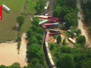 Dramatic aerial footage of Northern NSW train derailment