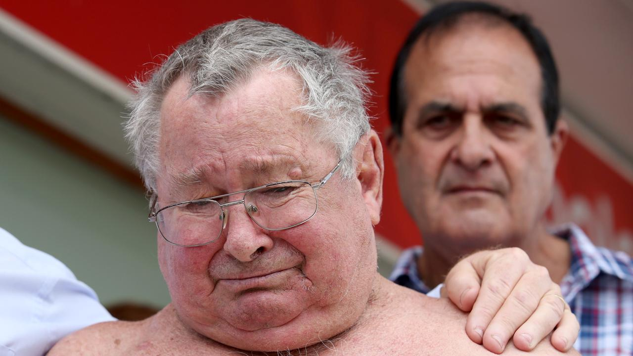 An emotional Frank Beaumont following the ruling of a NSW Supreme Court in which Seqwater's appeal was denied in 2019. Picture: file photo