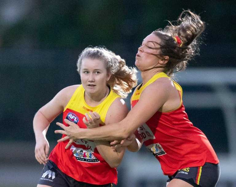 Wallis Randell and Jade Pregelj during a Gold Coast Suns AFLW training session. (Photo by Russell Freeman/AFL Photos)