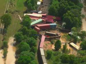 WATCH: Dramatic aerial footage of train derailment