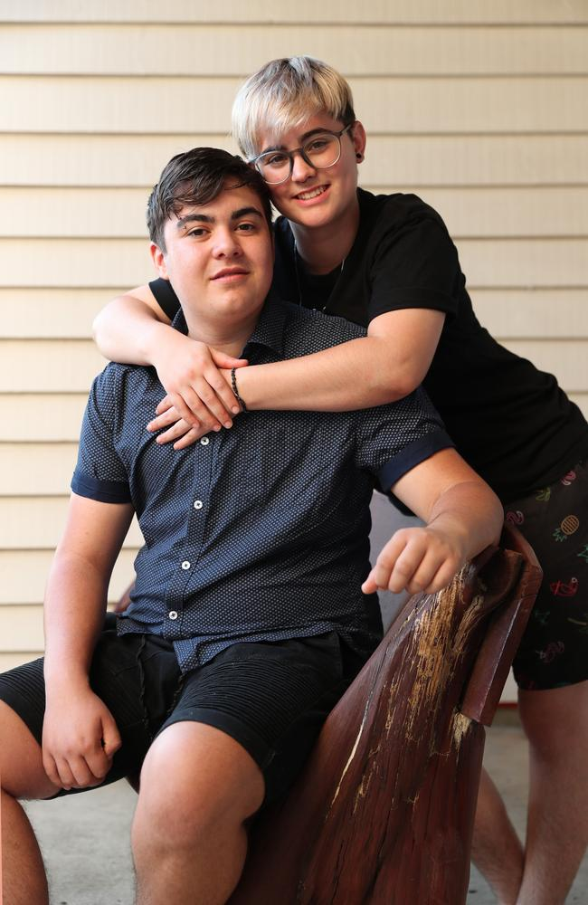 Nate Musiello and his partner Jemimah Clark, 19. Picture:Lachie Millard