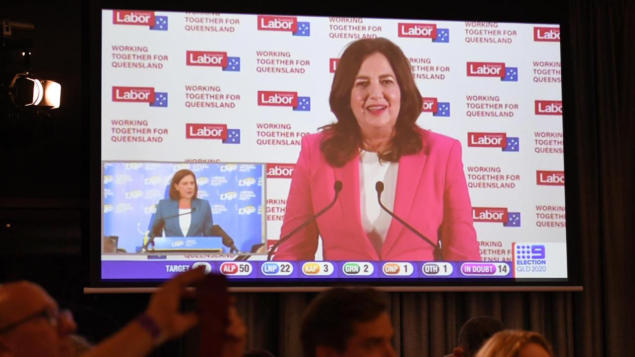 A TV broadcast of Queensland Premier Annastacia Palaszczuk giving her victory speech while LNP leader Deb Frecklington can be seen on a split screen giving her concession speech. Picture: NCA NewsWire / Dan Peled