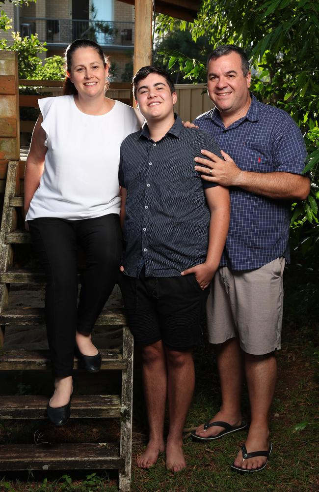 Nate Musiello with mum Michelle Suters and dad Gabriel Musiello. Picture: Lachie Millard