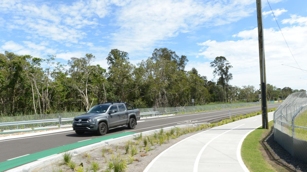 One of the first cars to travel along the newly-opened Byron Bay Bypass on Saturday, February 27, 2021. Picture: Liana Boss