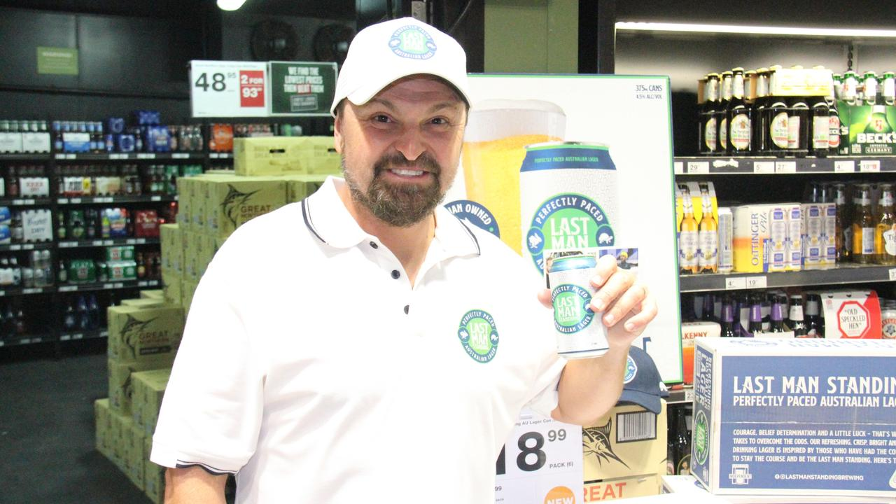 Australia's first Winter Olympic Gold Medallist Steven Bradbury was at Dan Murphy's Gladstone to launch his Last Man Standing lager today. Photo: Rodney Stevens