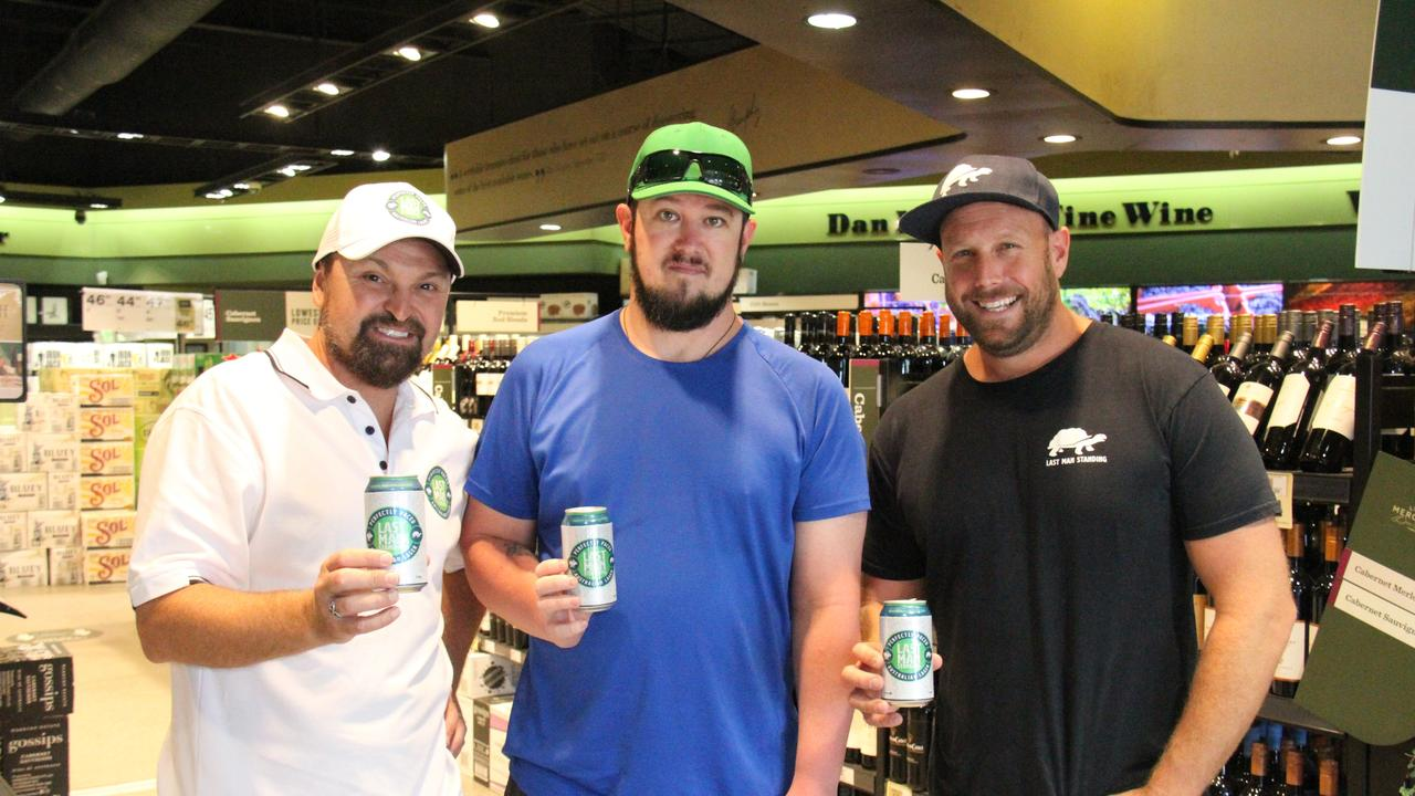Steven Bradbury, Gladstone local Mike Ward and Stephen Prosser at the Gladstone launch of Last Man Standing lager at Dan Murphy's. Picture: Rodney Stevens