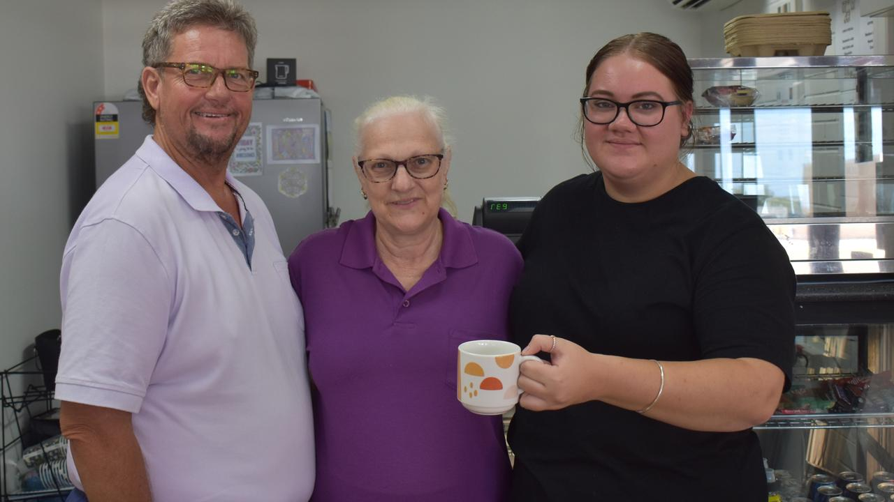 Tony and Bev Faint have opened a shop front for their coffee van Deja Brew on Goondoon Street. Pictured with barista Jordan Newton. Picture: Liana Walker