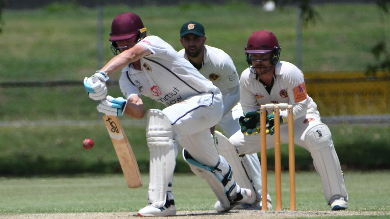 Ipswich Hornets batsman Harry Wood rescued his team with his second century of the Queensland Premier Grade competition. Picture: Gary Reid
