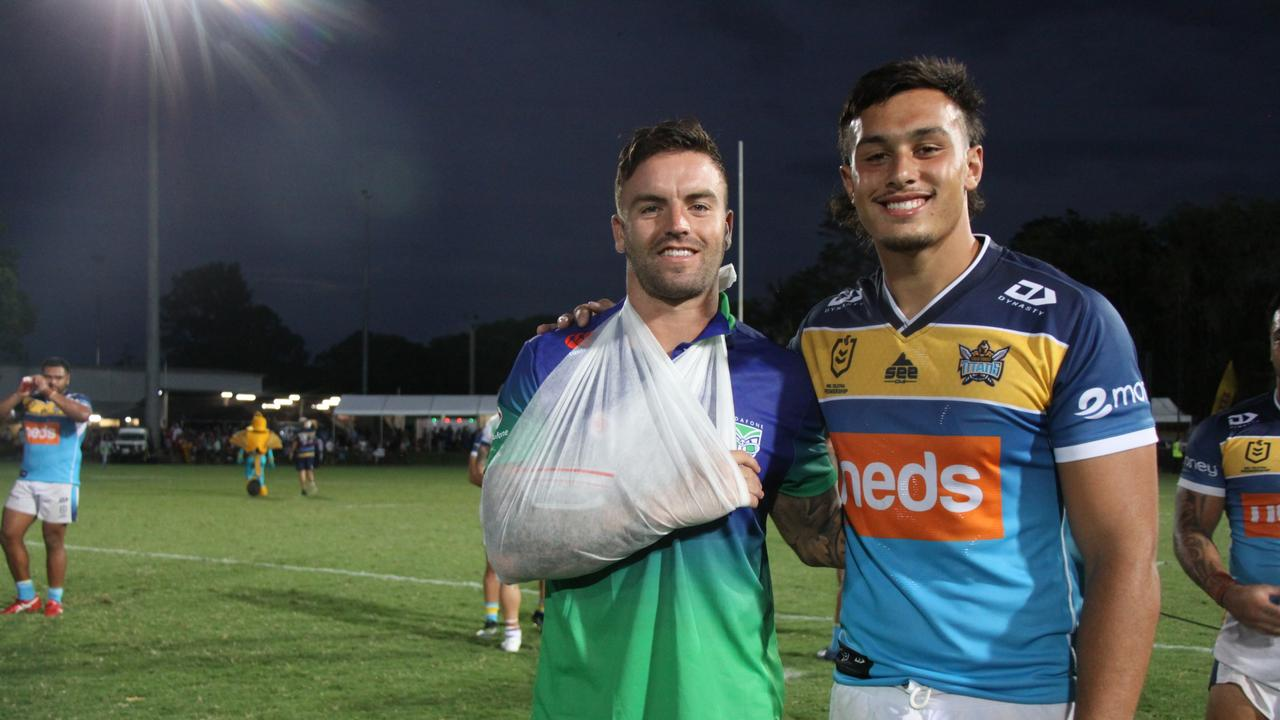 "INJURED: Warriors hooker Wade Egan (with Titans mate Tino Faasuamaleaui) suffered a shoulder injury after only 15 minutes of play against Titans in what he said was ""friendly fire"" incident. at Oakes Oval, Lismore on February 27, 2021. Photo: Alison Paterson"