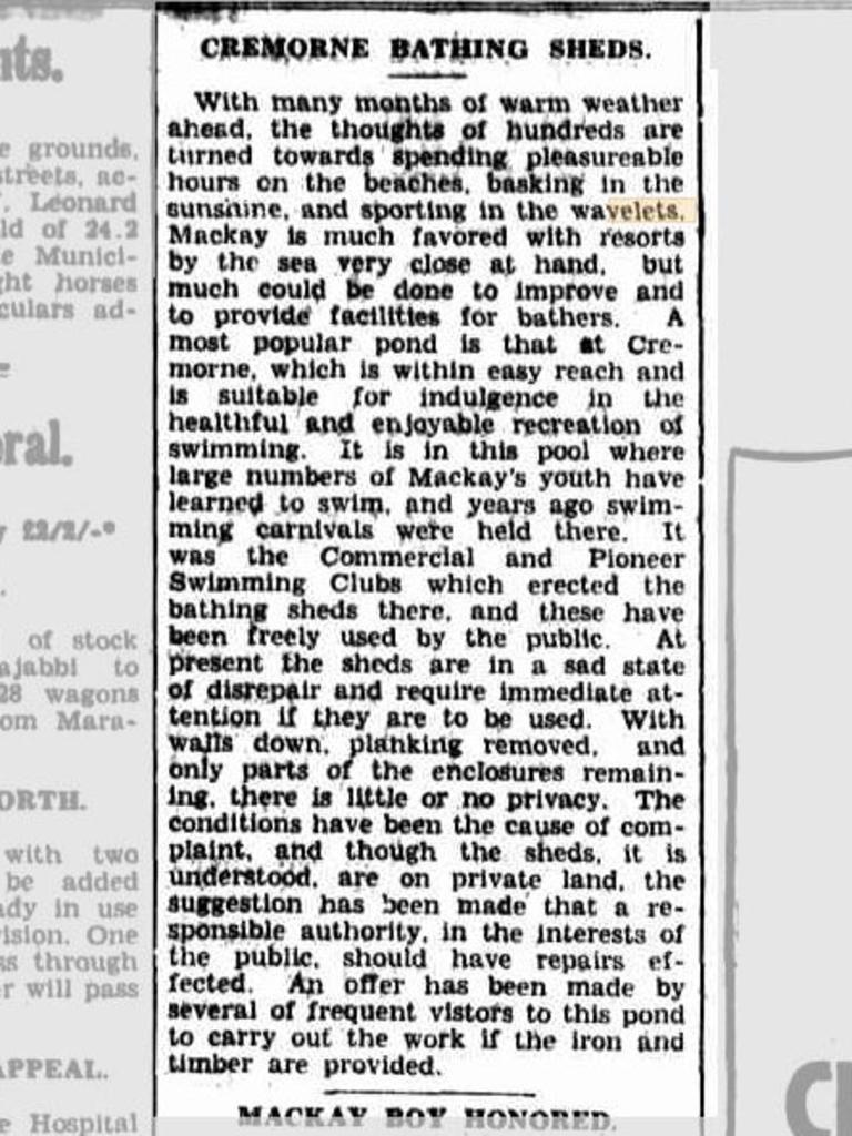 The Mackay Daily Mercury regularly referenced wavelets in its pages during the 1930s. This snippet on Friday October 12, 1934 could be a big clue – talking about a pond near the Cremorne Bathing Sheds. Picture: Trove/Mackay Daily Mercury