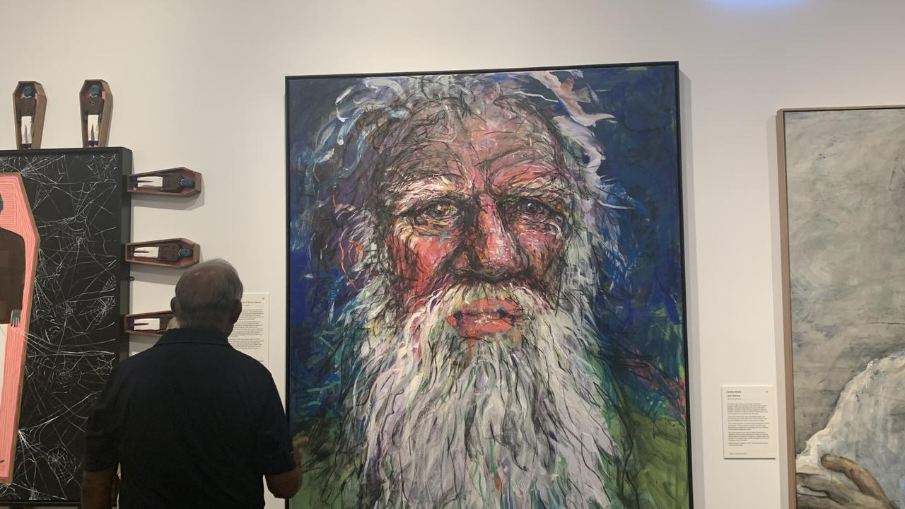 Byron Bay artist Craig Ruddy's portrait of Bruce Pascoe, titled Dark Emu, has been among Archibald Prize finalists on exhibition at the Tweed Regional Gallery. Picture: Liana Boss