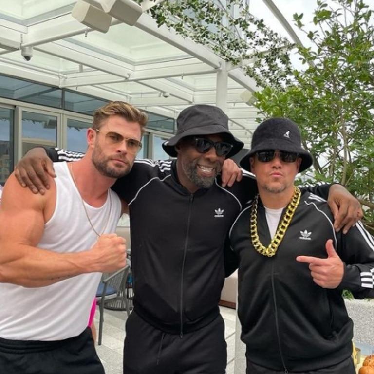 Chris Hemsworth, Idris Elba and Matt Damon at an 80s style dress up party. Picture: @chrishemsworth