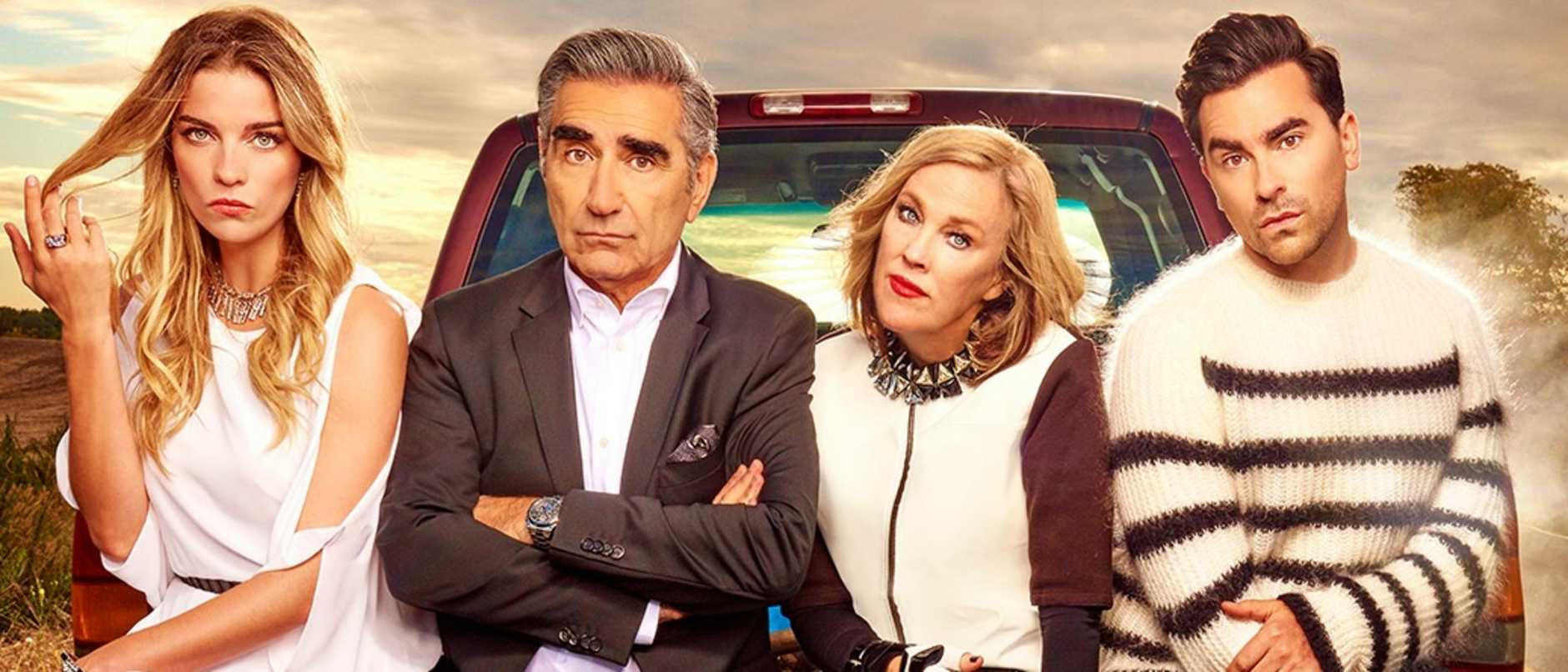 Winners … after sweeping the Emmy awards, the cast of Schitt's Creek, should scoop the Globes. Picture: Supplied/Netflix