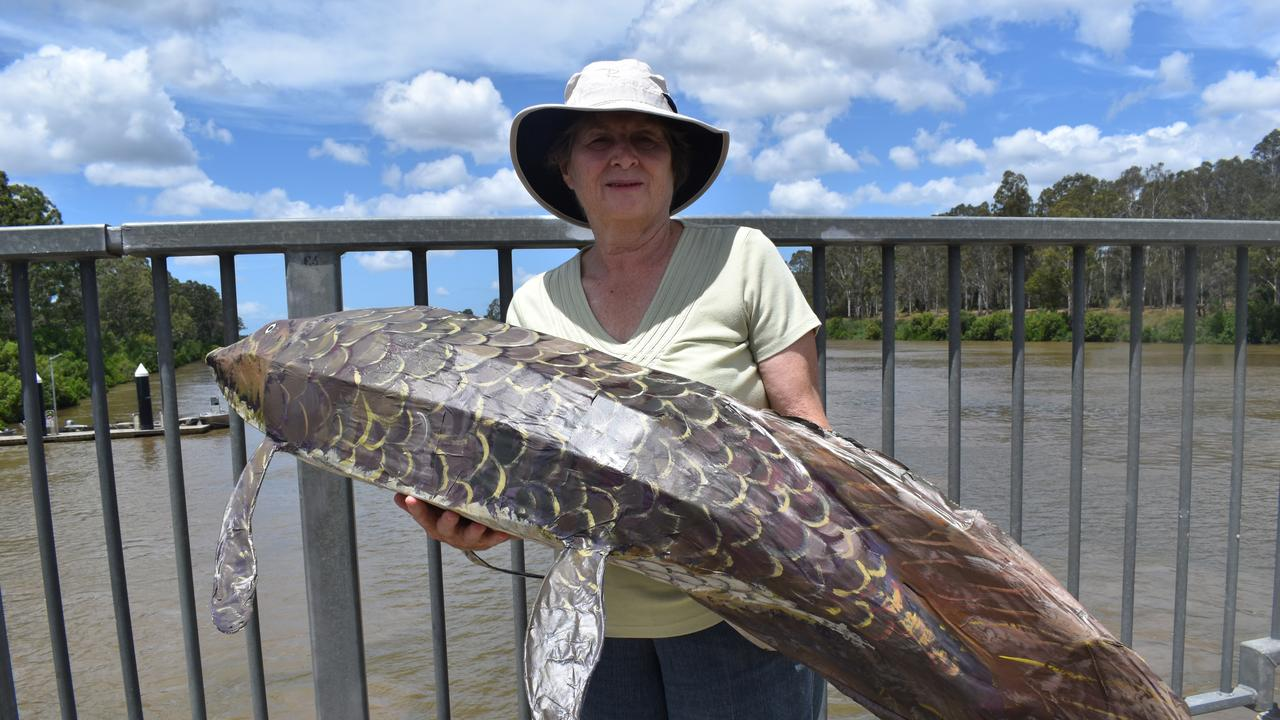 Glenda Pitman with a model of a mary river lungfish. She is concern about the long term sustainability of the river. Photo: Stuart Fast