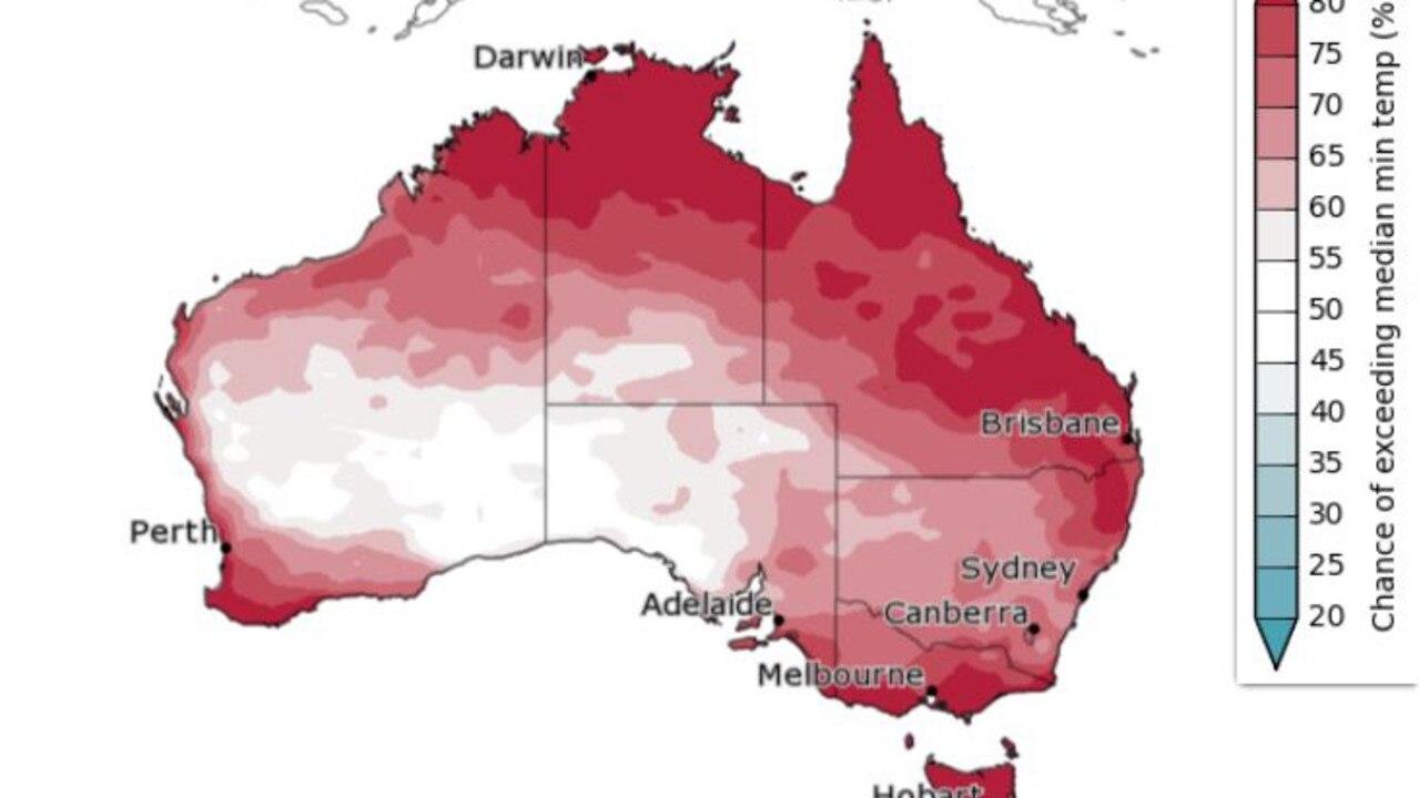 Chance of above median minimum temperatures in Autumn 2021. Source: Bureau of Meteorology