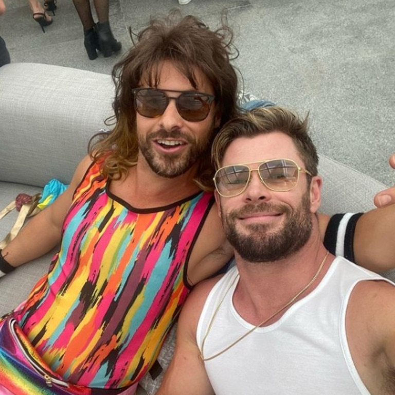 Chris Hemsworth and his personal assistant Aaron Grist celebrating his birthday with an 80s style dress up party. Picture: @chrishemsworth
