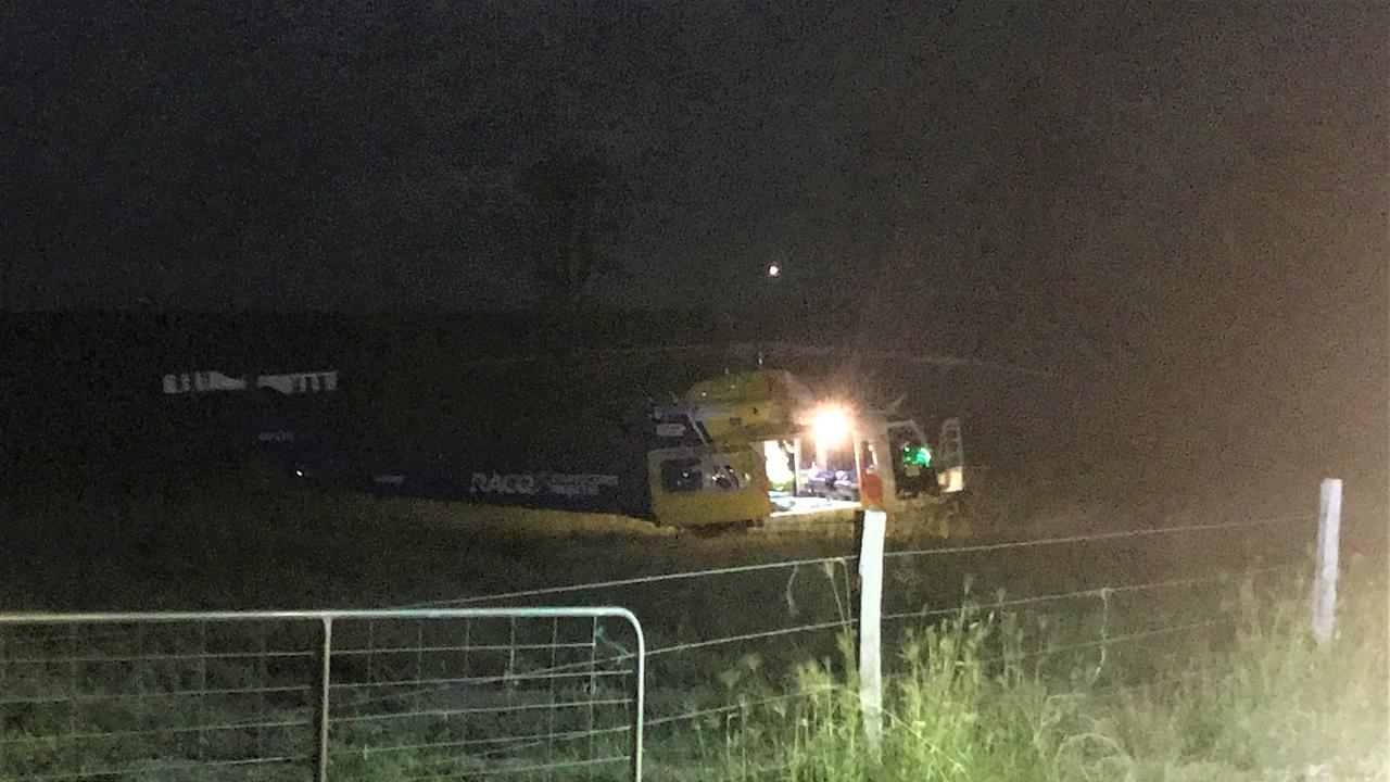 The RACQ Capricorn Helicopter Rescue Service was tasked to Gindoran, west of Lowmead, on Saturday at 8.33pm, after a man in his 50s fell from his horse while mustering cattle and suffered a suspected broken shoulder and spinal injuries.