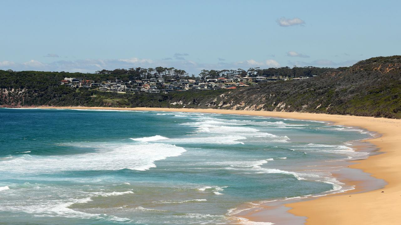 Bournda Beach where the human remains were found and later forensically identified as those of Ms Caddick. Picture: NCA NewsWire / Gary Ramage