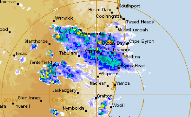 A severe thunderstorm warning has been issued for the Northern Rivers.